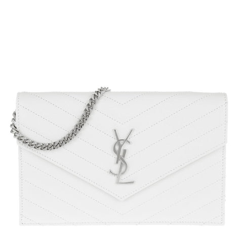 YSL Grain De Poudre Matelasse Chevron Monogram Envelope Chain Wallet White 393953 at_Queen_Bee_of_Beverly_Hills