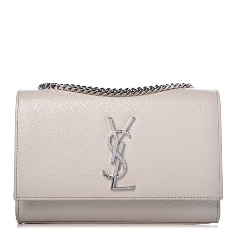 YSL Kate Monogramme Medium in Grain De Poudre Embossed White Leather 346021 at_Queen_Bee_of_Beverly_Hills