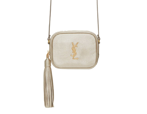 YSL Pouch Mono Metallic Gold Women's Small Crossbody Handbag 425317 at_Queen_Bee_of_Beverly_Hills