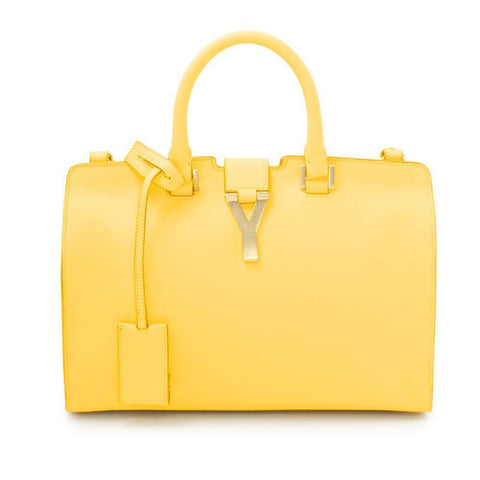 YSL Saint Laurent Classic Yellow Calfskin Leather Y Top Handle Shoulder Bag 311210 at_Queen_Bee_of_Beverly_Hills