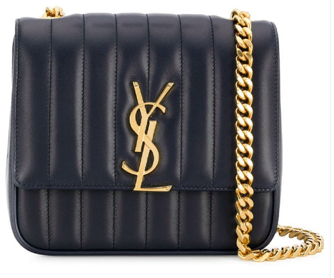 YSL Saint Laurent Deep Marine Blue Vicky Medium Quilted Monogram Handbag 532612 at_Queen_Bee_of_Beverly_Hills