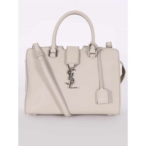 YSL Saint Laurent Ivory Leather Monogram Baby Cabas Satchel Handbag 424868 at_Queen_Bee_of_Beverly_Hills
