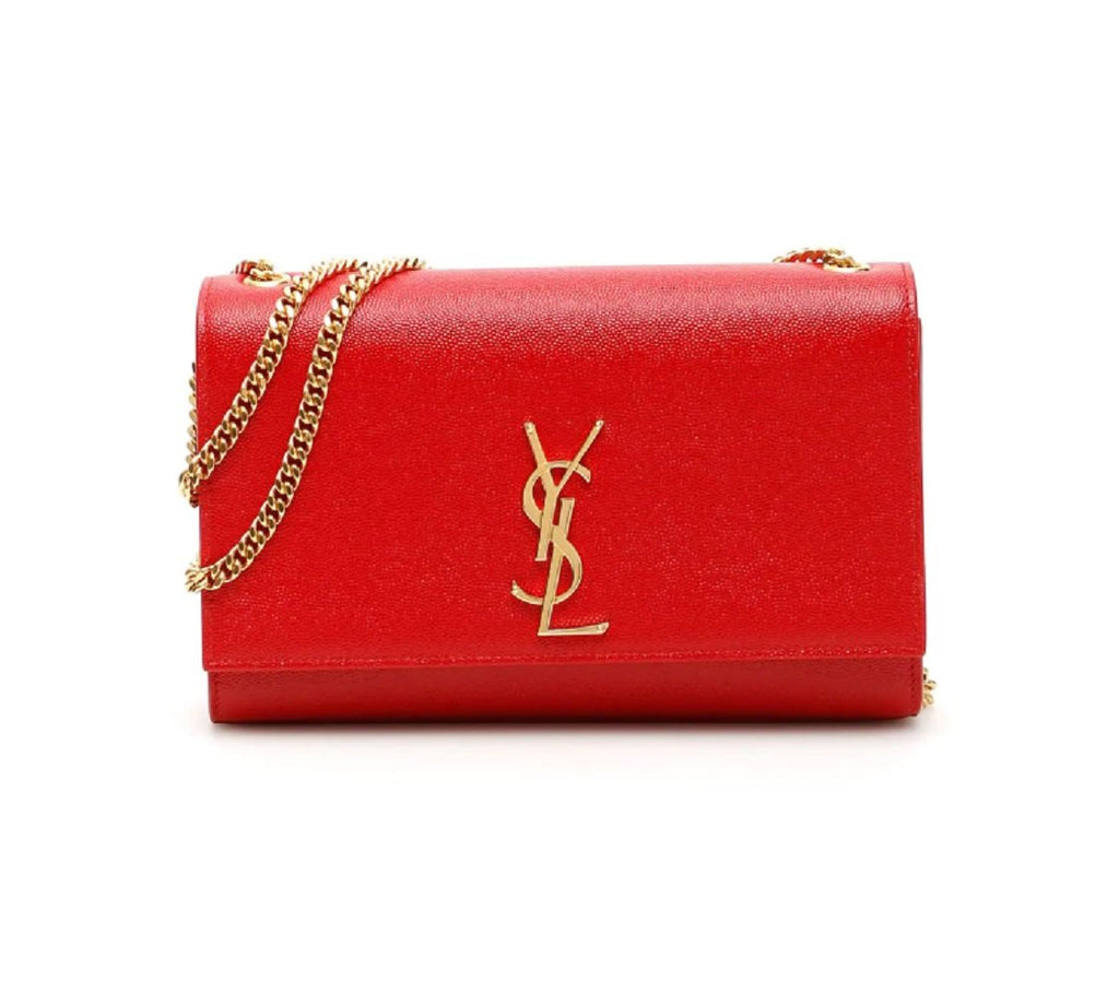 YSL Saint Laurent Lipstick Red Kate Monogram Leather Crossbody Handbag 364021 at_Queen_Bee_of_Beverly_Hills