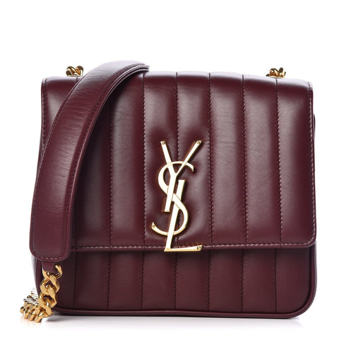 YSL Saint Laurent Maroon Red Vicky Quilted Leather Monogram Handbag 532612 at_Queen_Bee_of_Beverly_Hills