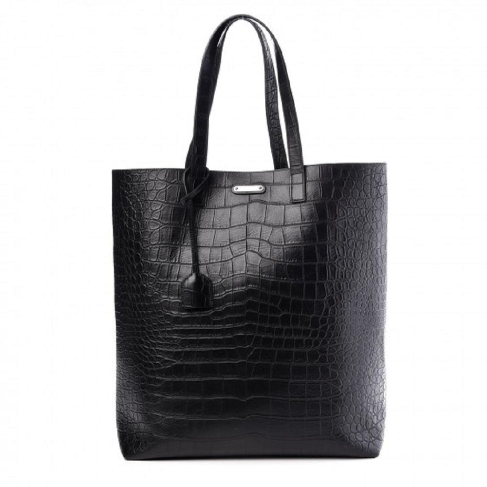 Yves Saint Laurent YSL Unisex Croc Embossed Black Leather Shopping Tote 467946 at_Queen_Bee_of_Beverly_Hills