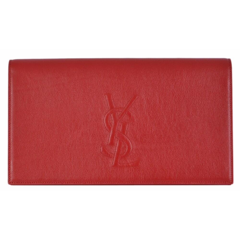 Yves Saint Laurent YSL women's Belle De Jour Red Leather Clutch Bag 361120 at_Queen_Bee_of_Beverly_Hills