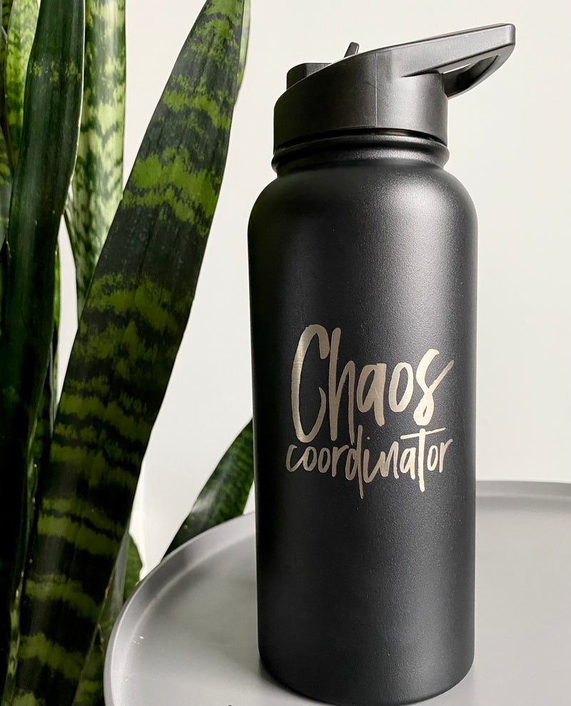 Chaos Coordinator 32 oz Stainless Steel Water Bottle - Matte Black