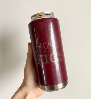 Because Kids Stainless Steel Skinny Can Cooler - Glitter Rosewood