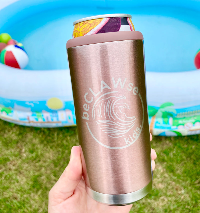 BeCLAWse Kids Stainless Steel Skinny Can Cooler - Rose Gold