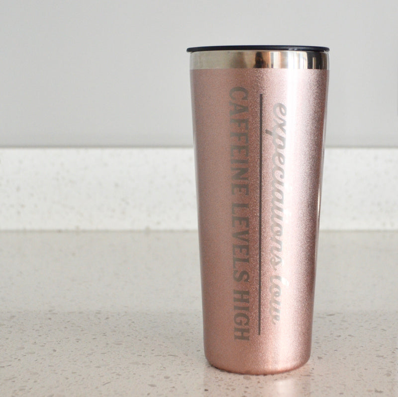 Expectations Low, Caffeine Levels High Rose Gold Stainless Steel Tumbler