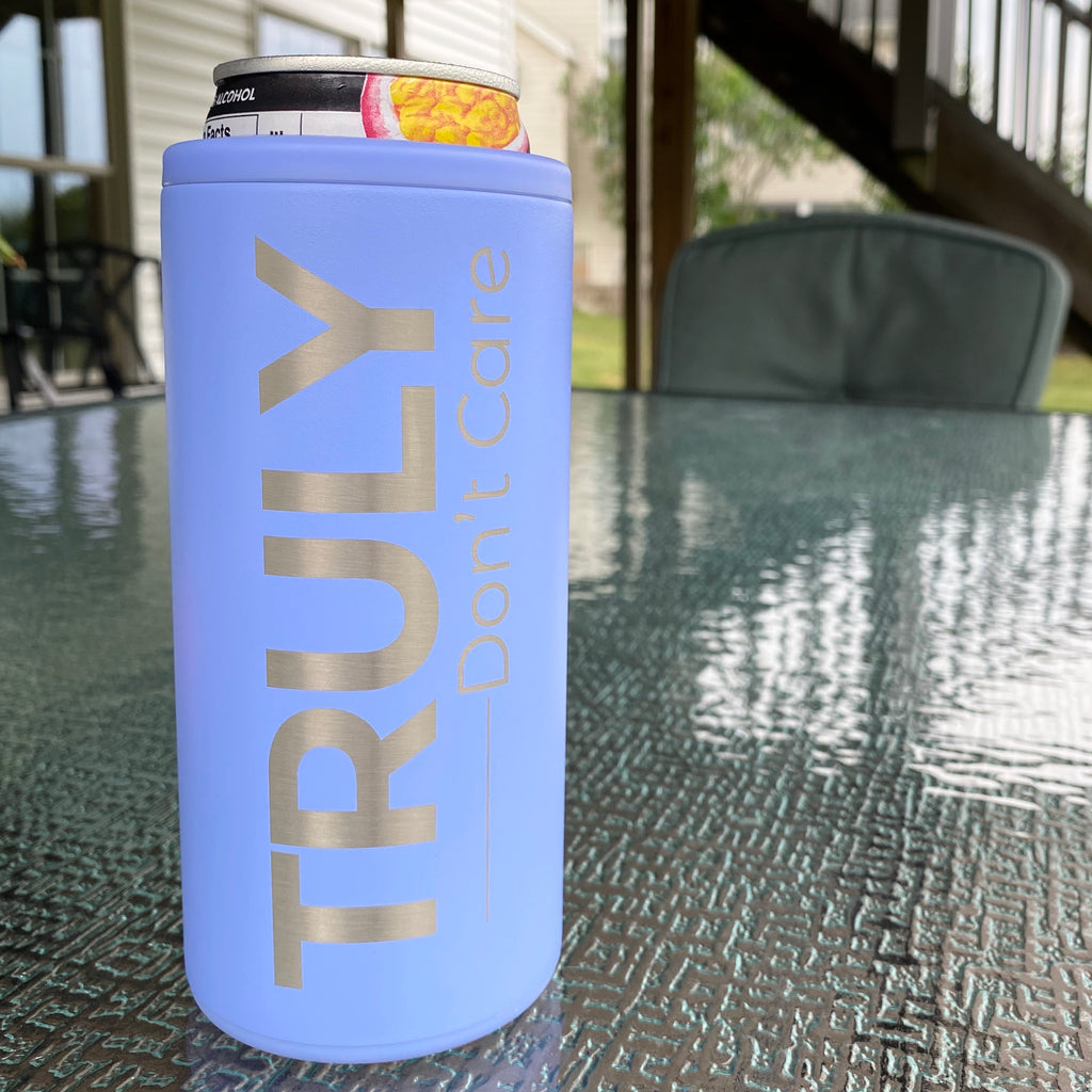 Truly Don't Care Stainless Steel Skinny Can Cooler - Hydrangea