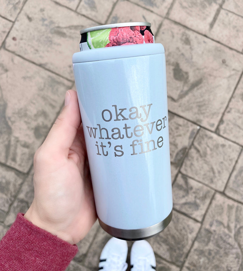 Okay Whatever It's Fine Stainless Steel Skinny Can Cooler - Glitter Iceberg