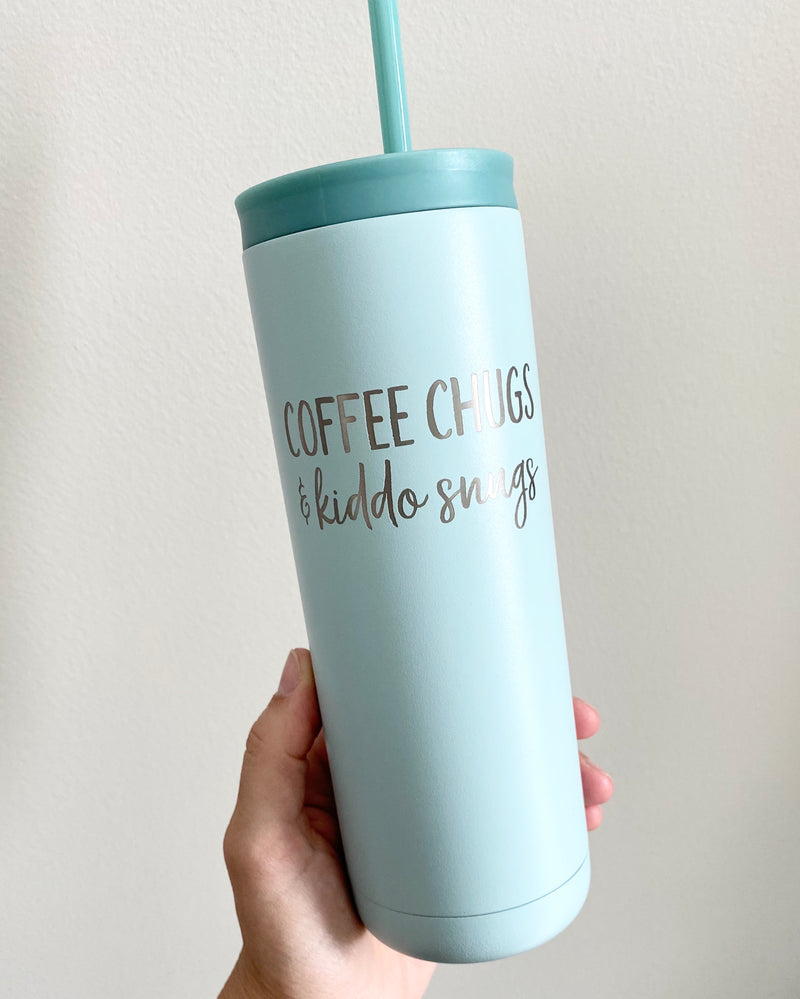 Coffee Chugs & Kiddo Snugs 20 oz Stainless Steel Tumbler - Matte Sea Glass