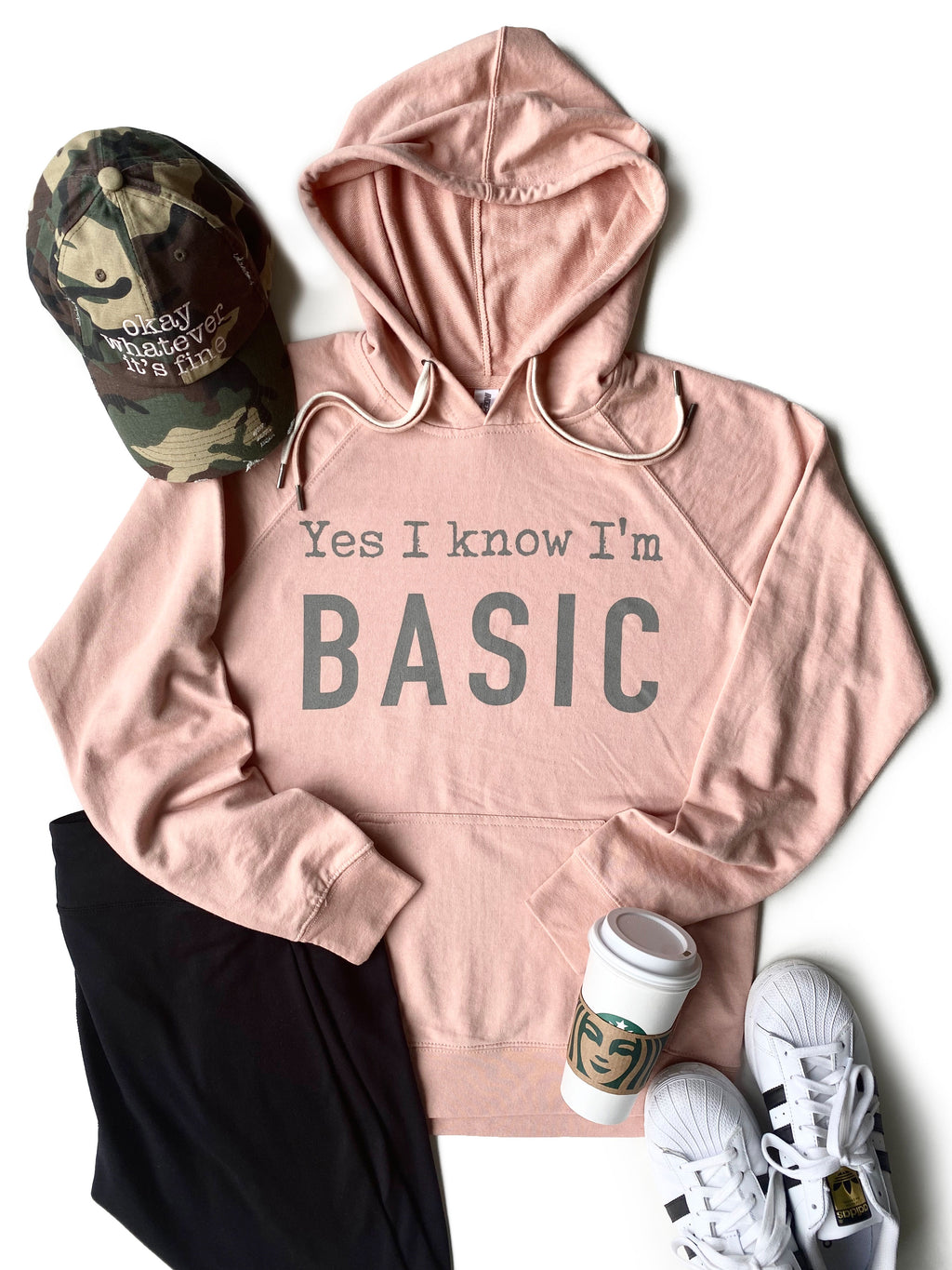 Yes I Know I'm Basic Hoodie - Dusty Rose