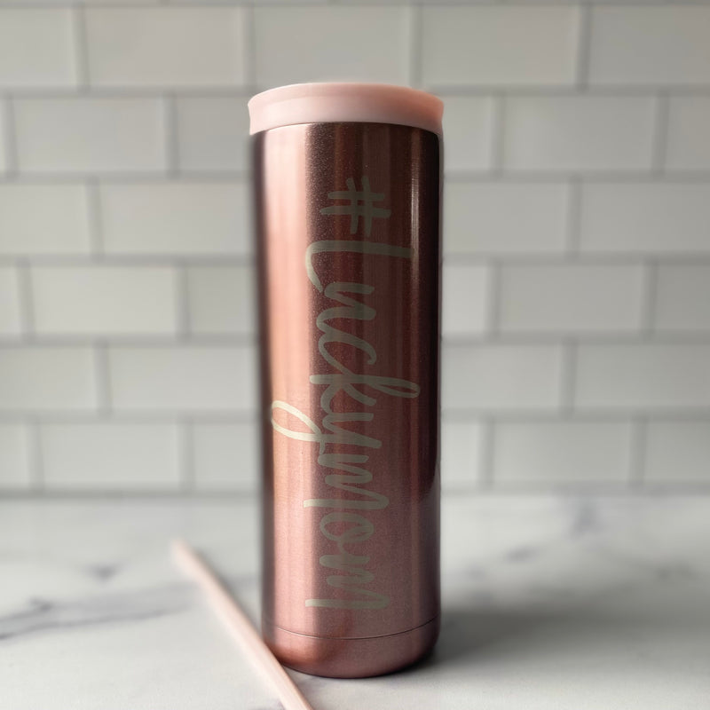 #Luckymom Stainless Steel Tumbler - Rose Gold 20 oz