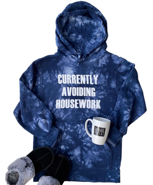 Currently Avoiding Housework Tie Dye Hoodie - Navy