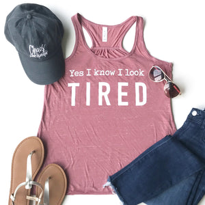 Yes I Know I Look Tired Racerback Tank Top - Mauve Marble