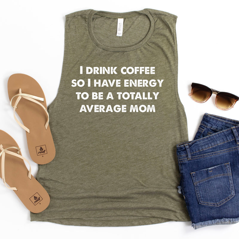 Totally Average Mom Flowy Muscle Tank - Heather Olive