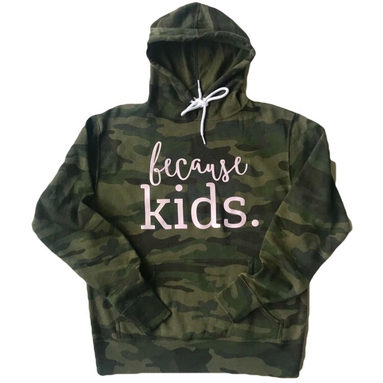 Because Kids Camo Hoodie - Blush Shimmer Ink