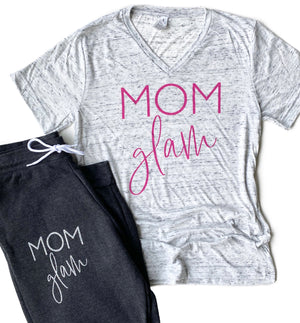 Mom Glam Joggers - Silver Glitter Ink