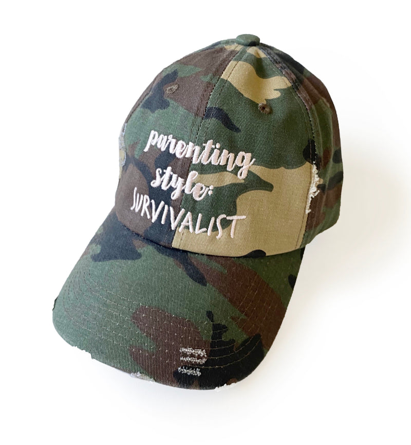 Parenting Style: Survivalist Distressed Camo Hat