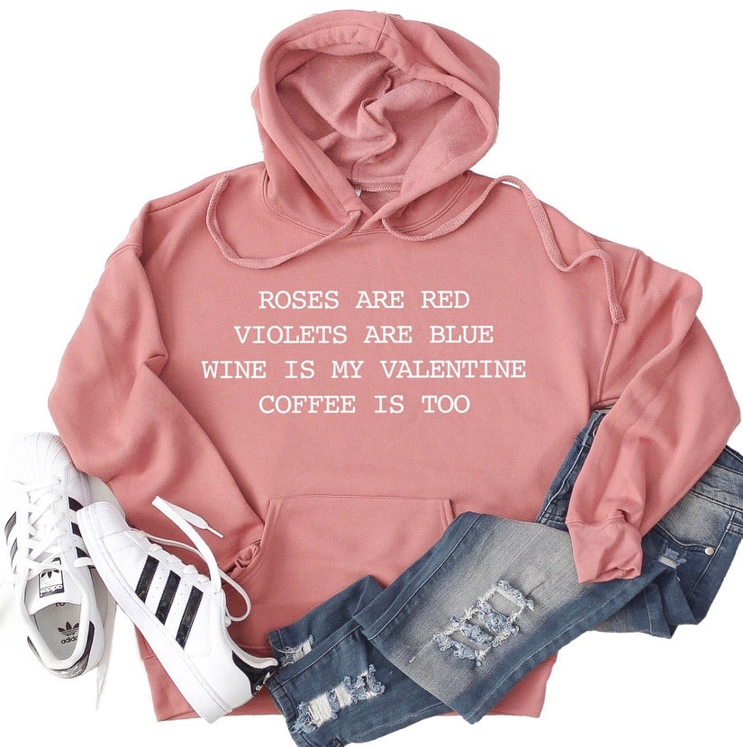 Coffee and Wine Valentine Hoodie - Mauve