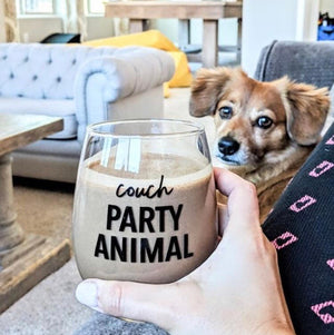 Couch Party Animal Wine Glass
