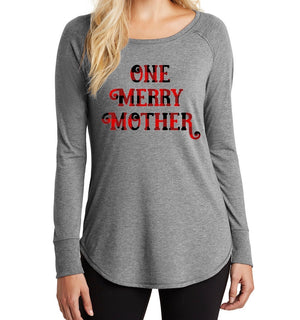 One Merry Mother Long Sleeve Tunic - Buffalo Plaid