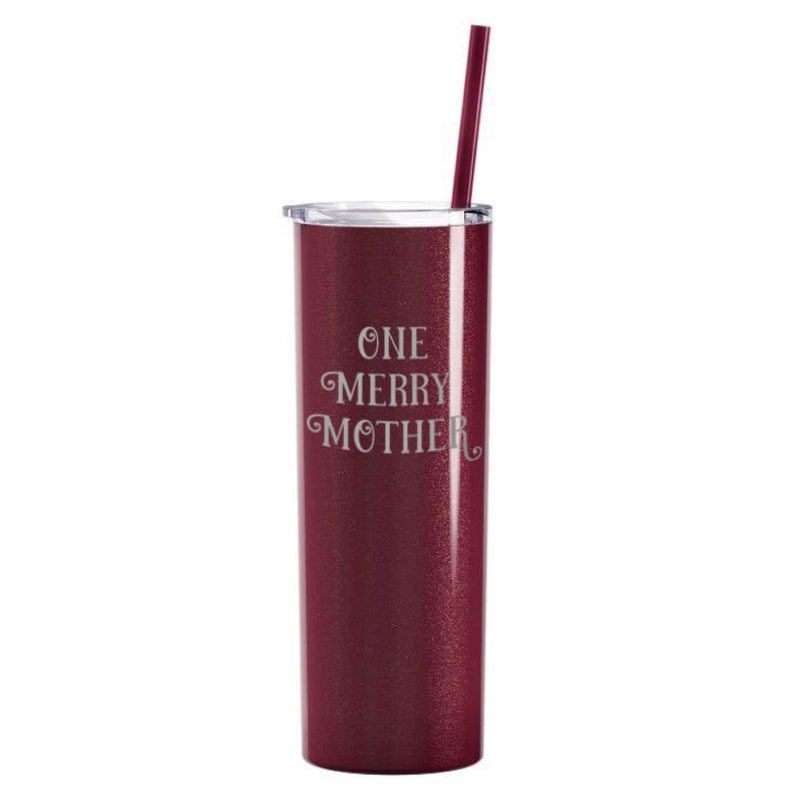 One Merry Mother Stainless Steel Tumbler - Glitter Rosewood