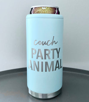 Couch Party Animal Stainless Steel Skinny Can Cooler - Matte Sea Glass