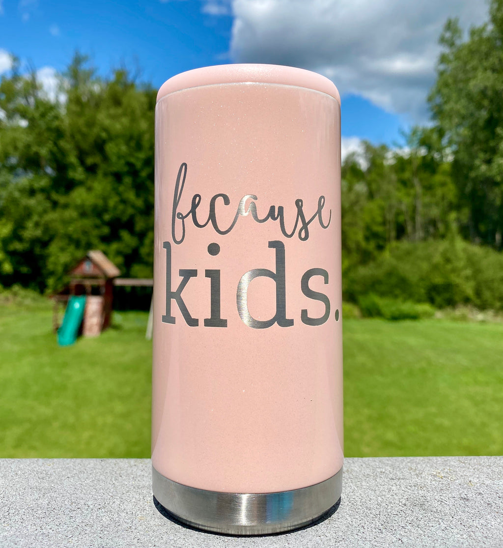 Because Kids Stainless Steel Skinny Can Cooler - Glitter Blush