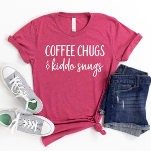 Coffee Chugs & Kiddo Snugs T-shirt - Heather Raspberry