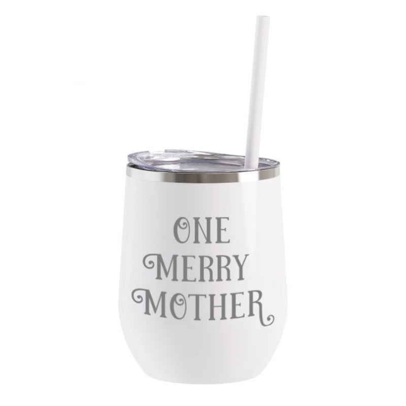 One Merry Mother Stainless Steel Beverage Tumbler - White