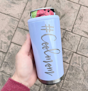 #Coolmom Stainless Steel Skinny Can Cooler - Glitter Lilac