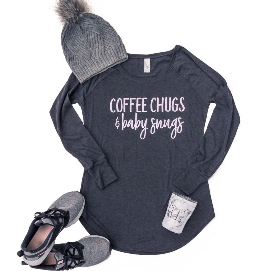 Coffee Chugs & Baby Snugs Long Sleeve Tunic - Blush Shimmer Ink