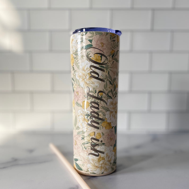 Old Lady-ish Stainless Steel Tumbler - 20 oz Floral