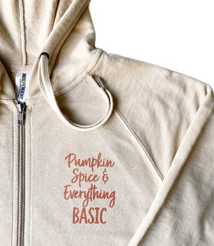 Pumpkin Spice and Everything Basic Zip-Up - Sand + Copper Glitter Ink