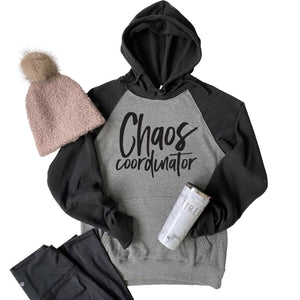 Chaos Coordinator Hoodie - Black and Gray Raglan