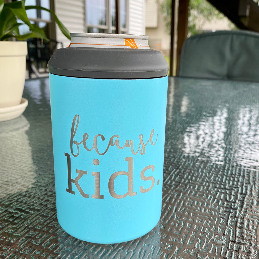Because Kids Stainless Steel Can Cooler - Purist Blue