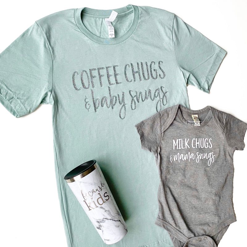 Coffee Chugs & Baby Snugs T-shirt - Heather Dusty Blue + Silver Glitter Ink