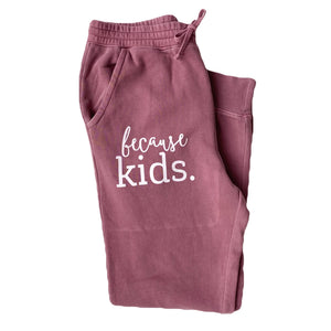 Because Kids™ Joggers - Faded Maroon