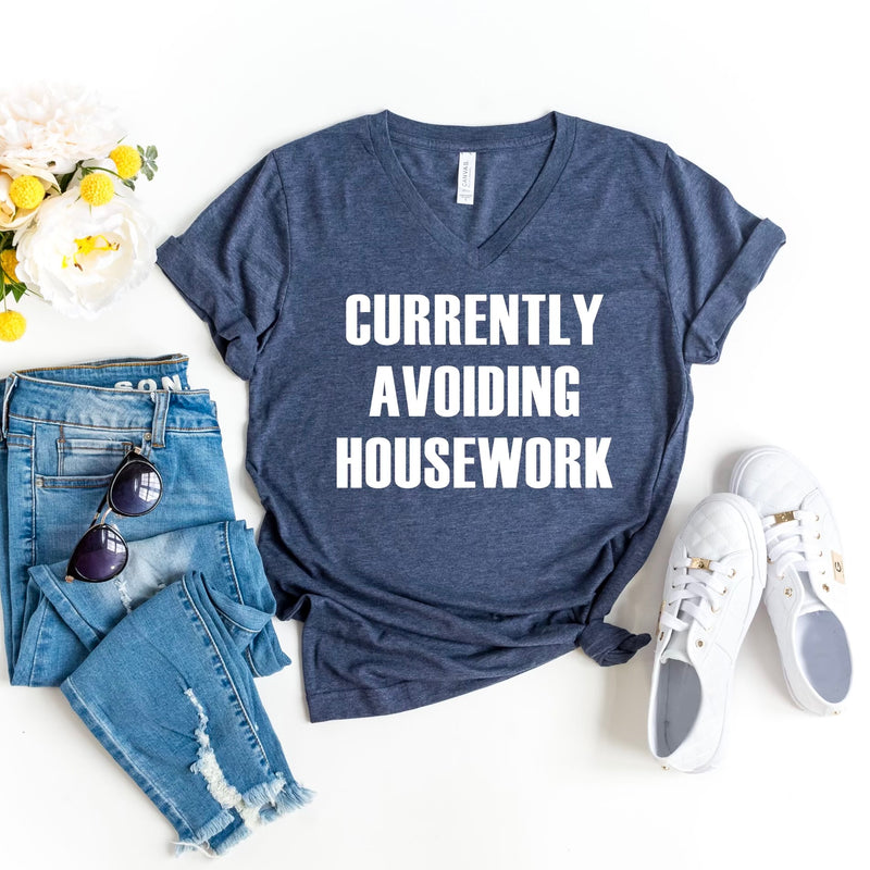 Currently Avoiding Housework V-neck T-shirt - Heather Navy