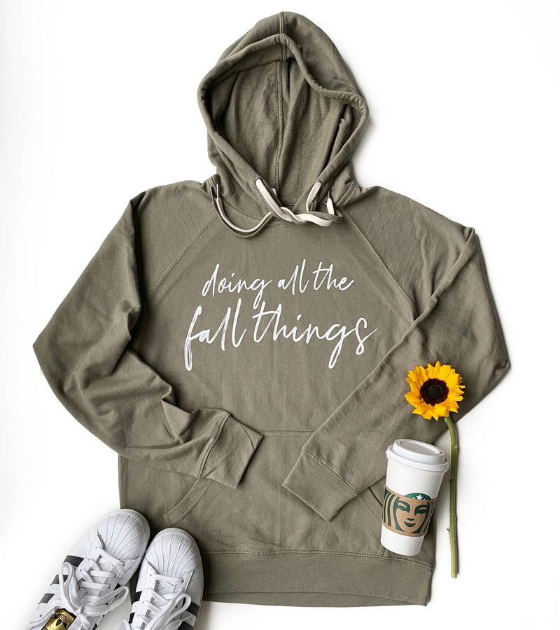 Doing All The Fall Things Hoodie - Olive