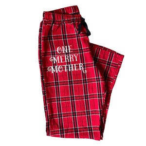 One Merry Mother Red Plaid Pajama Pants