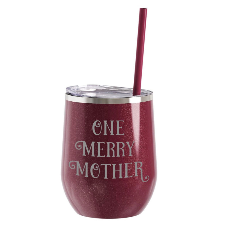 One Merry Mother Stainless Steel Beverage Tumbler - Glitter Rosewood