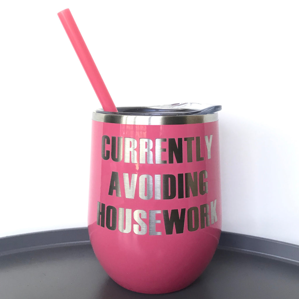 Currently Avoiding Housework Beverage Tumbler - Coral