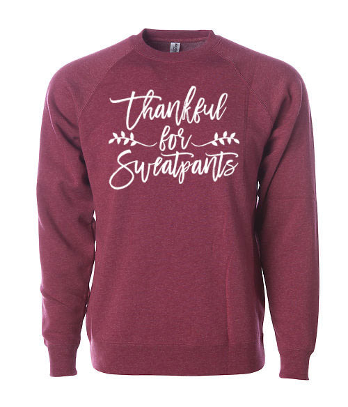 Thankful For Sweatpants Pullover - Crimson