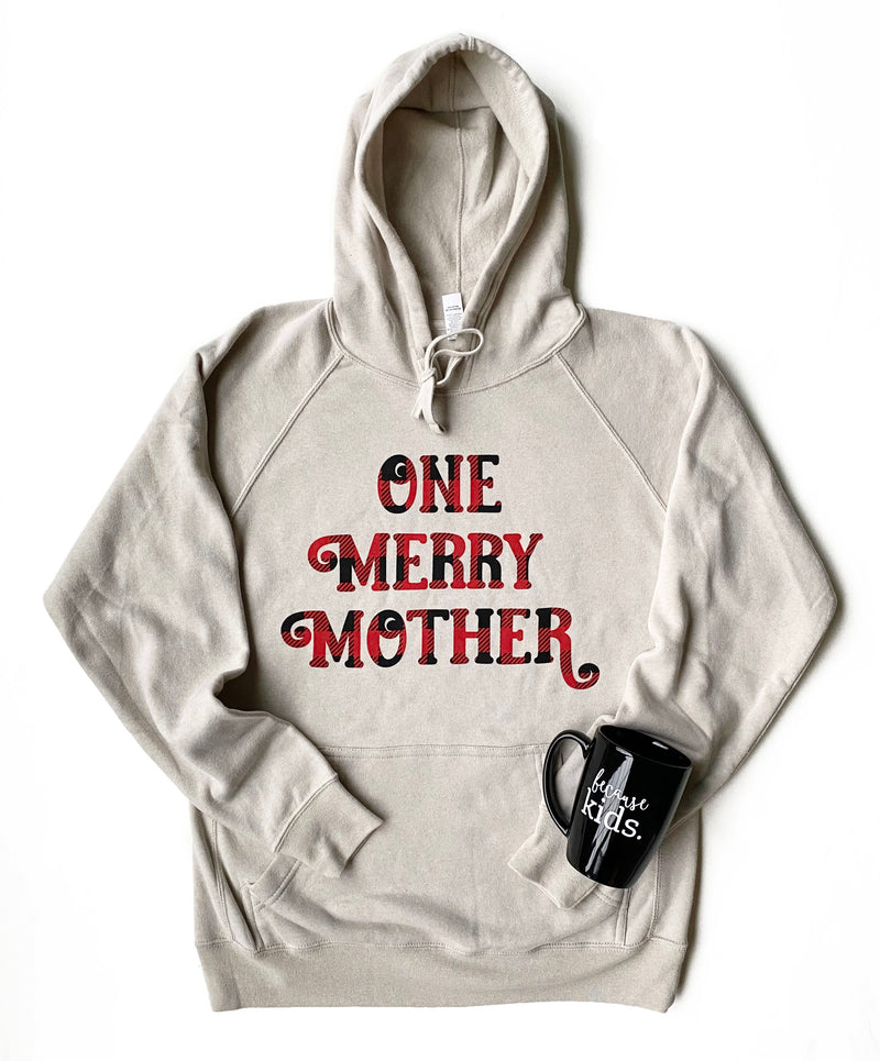 One Merry Mother Stone Heather Hoodie - Buffalo Plaid