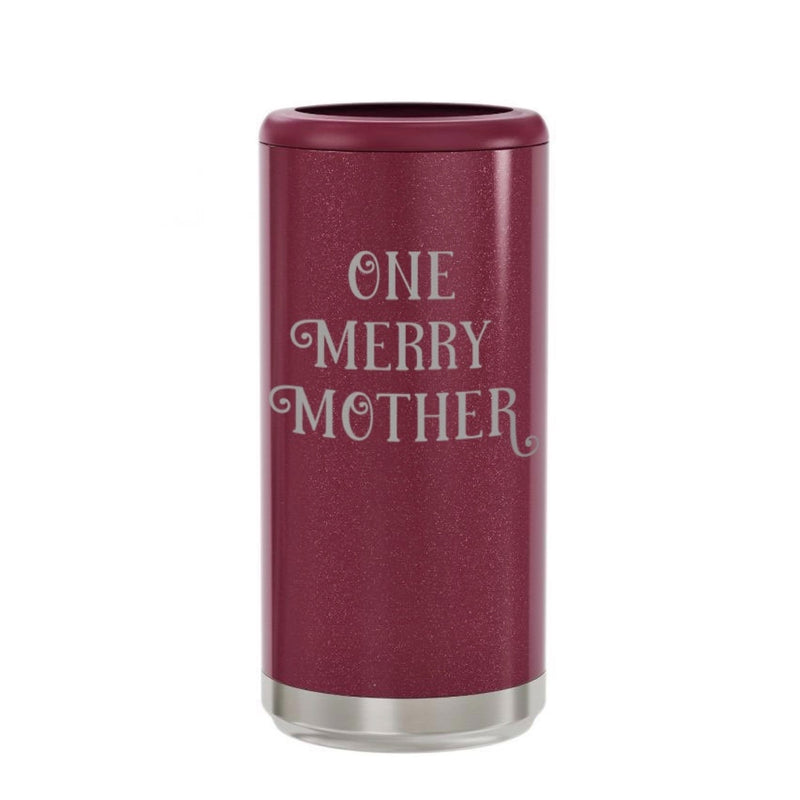 One Merry Mother Stainless Steel Skinny Can Cooler - Glitter Rosewood