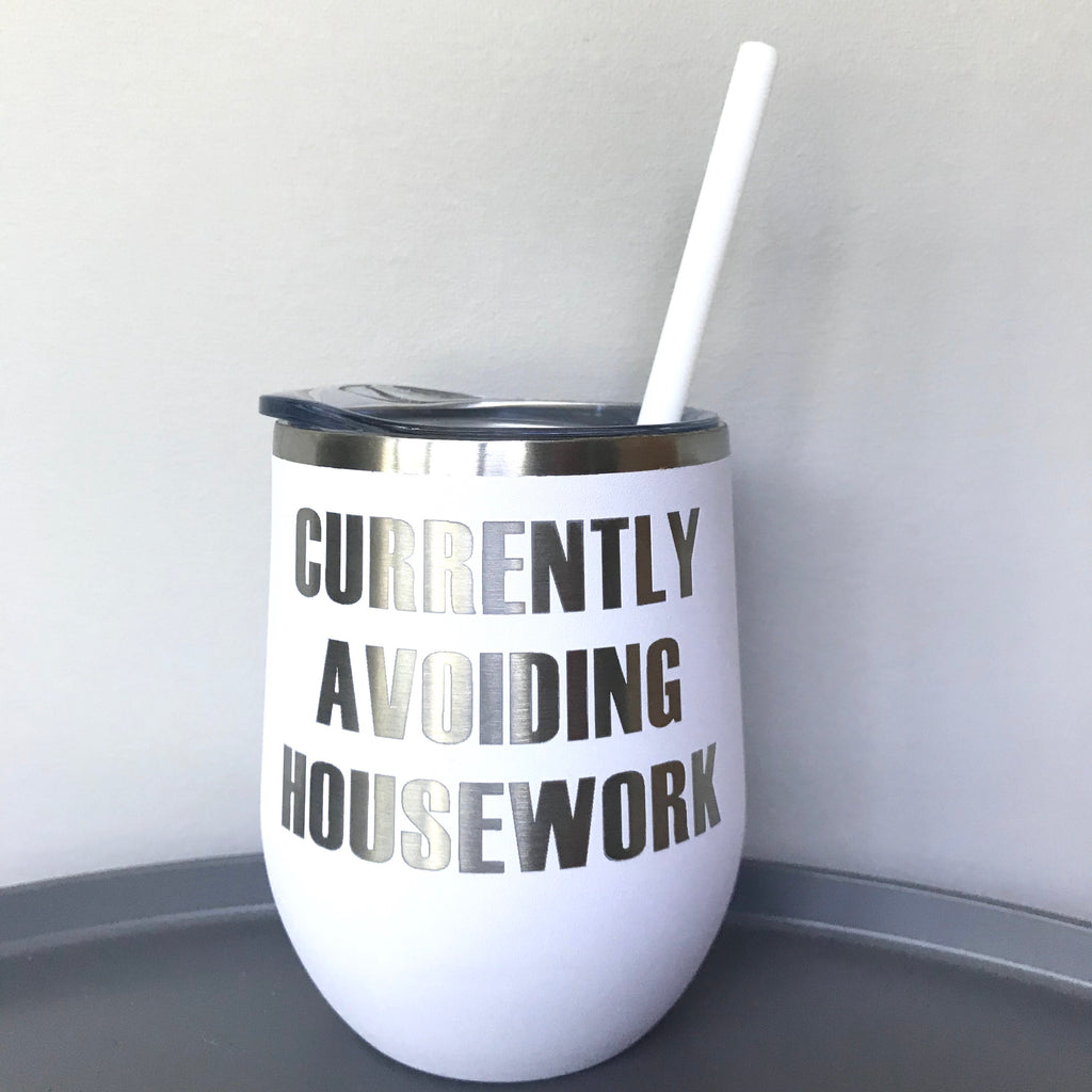 Currently Avoiding Housework Beverage Tumbler - Matte White